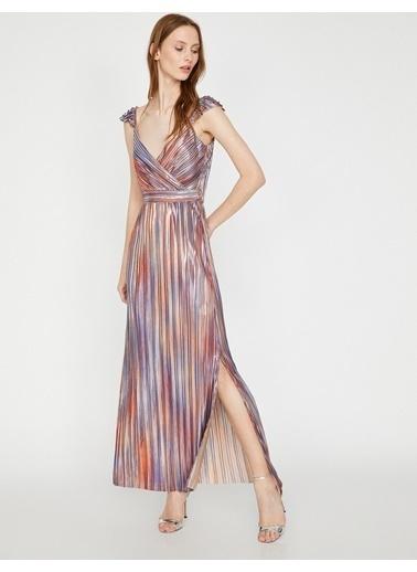 Koton Kolsuz Çizgili Uzun Abiye Elbise Renkli